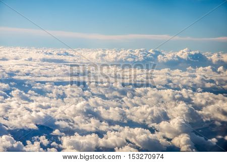 Sky and clouds from a plane over Montenegro