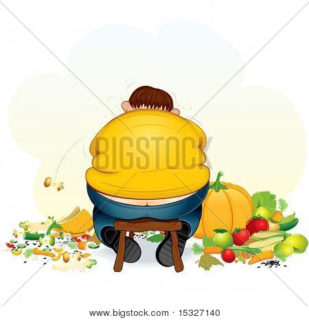 Fatty vegan man eating fruits and vegetable - vector illustration