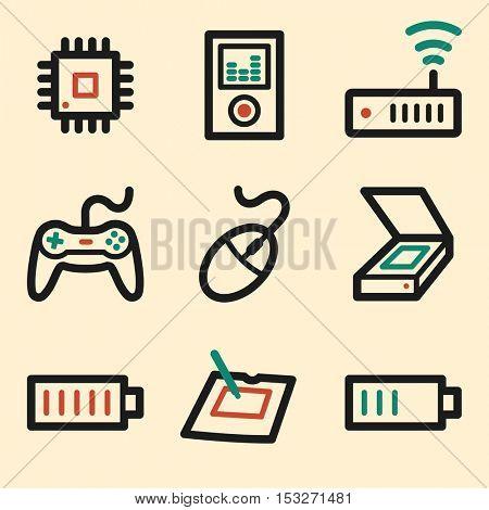 Electronics web icons. Technology mobile icon, infographics symbols.