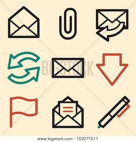 E-mail web icons. Mobile icon, infographics symbols.