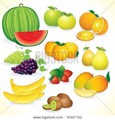 Fruits set - Juicy set of detailed vector illustrations / icons