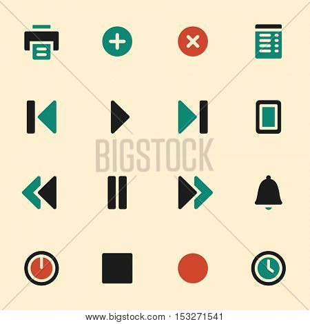 Media player web icons set. Mobile screen symbols.