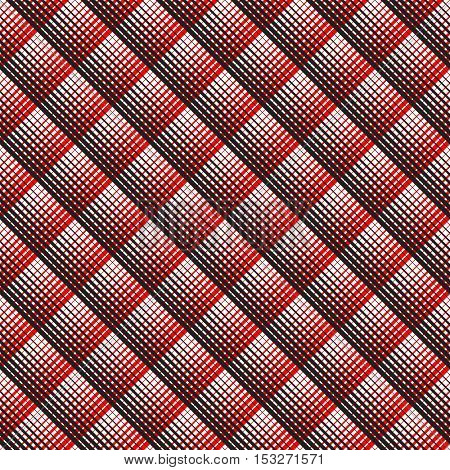 British Plaid Ornament. Abstract Diagonal Thin Line Art Pattern. Wrapping Paper Checks Texture. Seamless Tartan Pattern. Vector Black and Red Woven Background