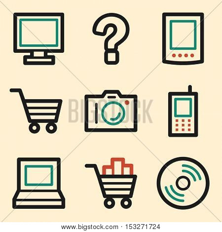 Electronics web icons. Technology mobile icon, infographics symbols.