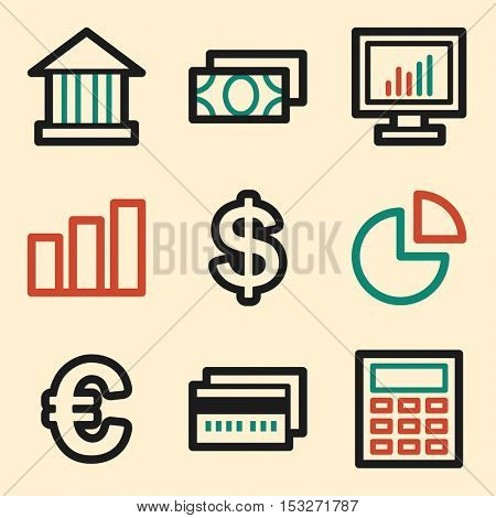 Finance icon, business vector web sign. Banking and money symbols.