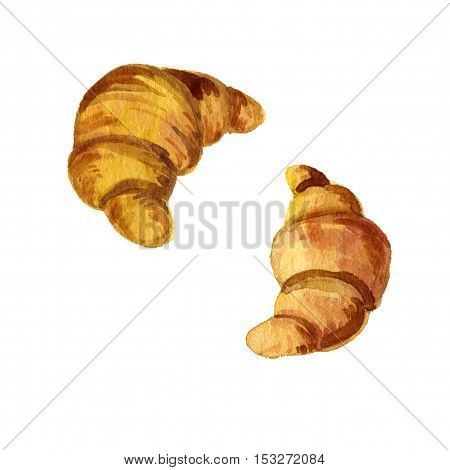 watercolor drawing croissants, fresh golden bakery, hand drawn illustration