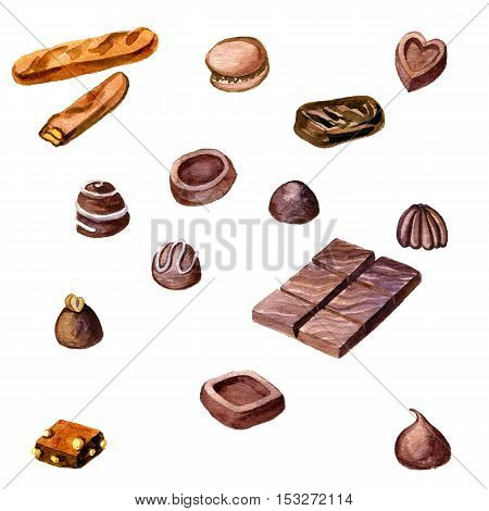 watercolor chocolate candies isolated at white background