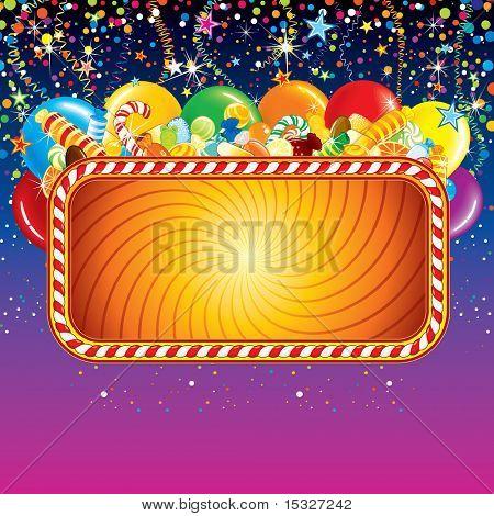 Festliche Karte Hintergrund mit Ballons, Konfetti und über Geburtstag Dekoration. Bereit für die Feier