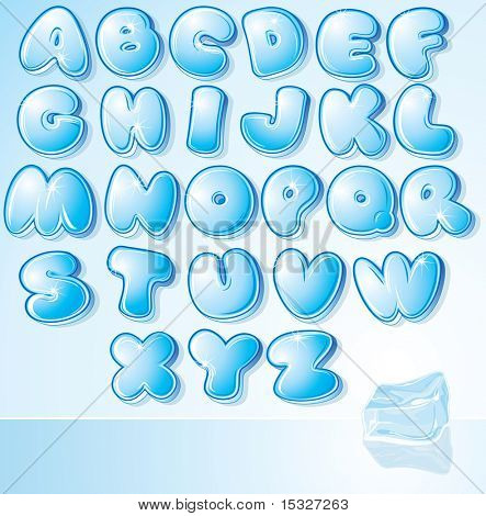 Funny Cartoon shine icy font - letter from A to Z, vector clip art for your christmas design or text