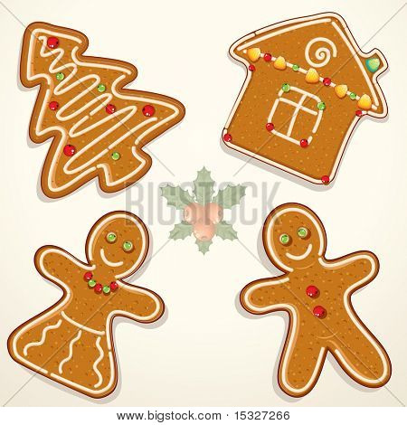 Gingerbread Man, House, and Tree - Cookies Collection - vector illustration of decorative Christmas ornament