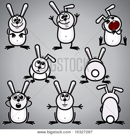 Funny Cartoon Rabbit  - Bunny symbol of new  2011 year and easter symbol - vector sketch clip-art
