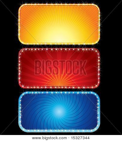 Brightly colored neon billboards - sign ready for your text, design.