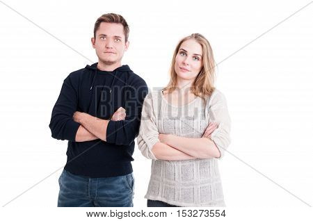 Couple Posing And Standing With Arms Crossed