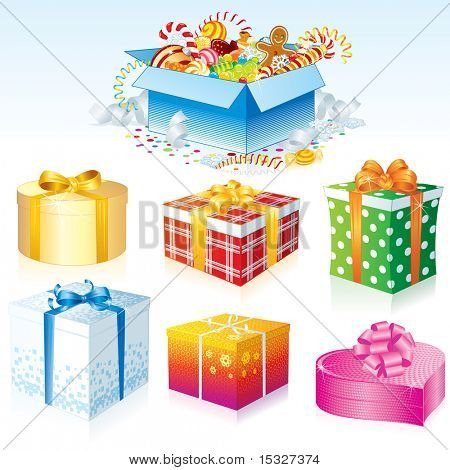Birthday and Christmas Gift Boxes -  ( at my gallery vector version )