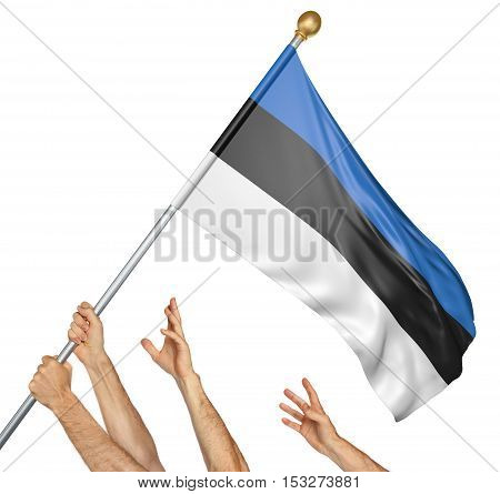 Team of peoples hands raising the Estonia national flag, 3D rendering isolated on white background