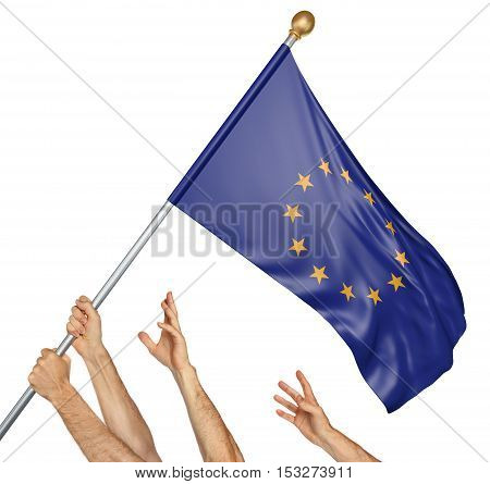 Team of peoples hands raising the European Union flag, 3D rendering isolated on white background