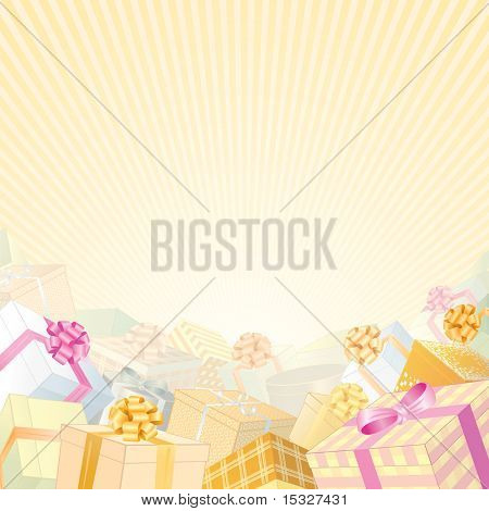 Soft Beige Backdrop with pile of gift boxes - for your greeting text or design