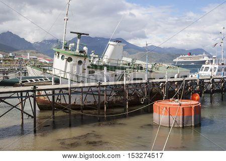 Boats Docked In Ushuaia City