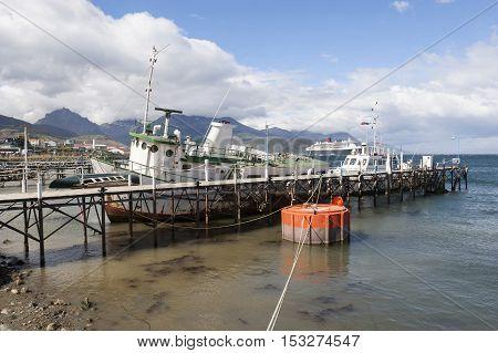 Boats Docked In Ushuaia