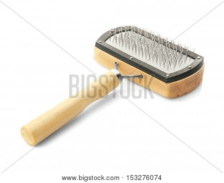 Grooming brush for pets on white background