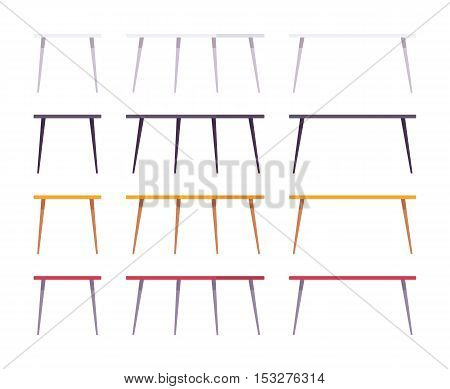 Set of tables shown from different positions, different colours. Cartoon vector flat-style illustration