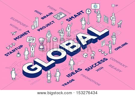 Vector Illustration Of Three Dimensional Word Global With People And Tags On Pink Background With Sc