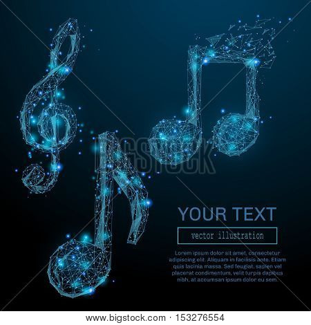 Abstract notes consisting of points, lines and luminous forms. Vector illustration of a starry sky of galaxies. Glowing points, nodes in the form of a glowing, flaming celestial bodies.