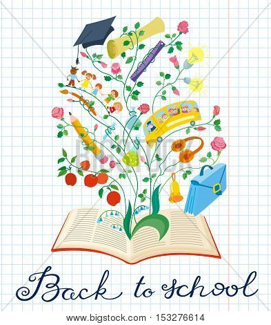 Back to school hand drawing calligraphy lettering. Educational background with paper backdrop with books clip rulers pen pencil scoolbag bell notebook children bus and apple in doodle children's style
