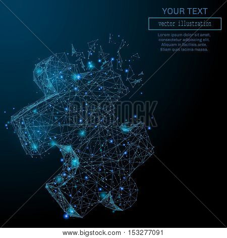 Abstract illustration of a the puzzle in the form of a starry sky, space, consisting, shapes in the form of planets, stars and the universe. Vector flaming celestial bodies.
