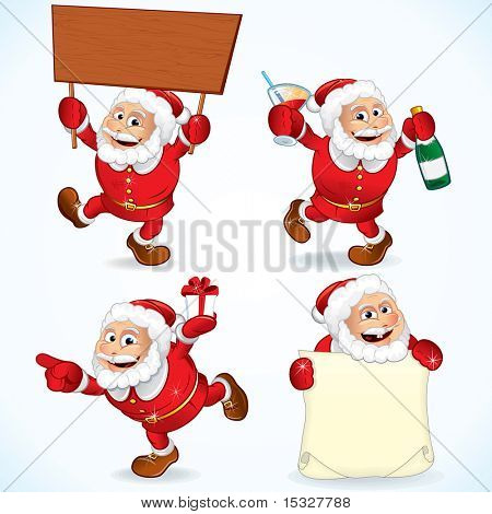 Funny Cartoon Santa Claus illustrations : Santa holding sign , bad drunk Santa, pointing Santa and Santa's wish list - xmas vector clip-art series