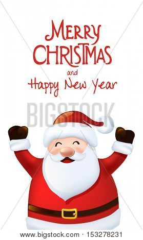 Happy Santa Claus  greeting card, vector illustration