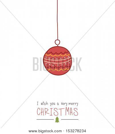 Hand drawn Christmas ball,  vector. Happy new year illustration.