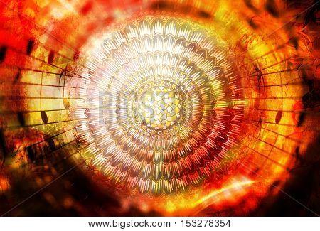 solar mandala amids music notes symboliting music inspiration