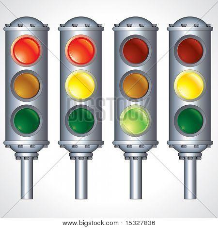 Retro Traffic Lights signals variation - detailed illustration