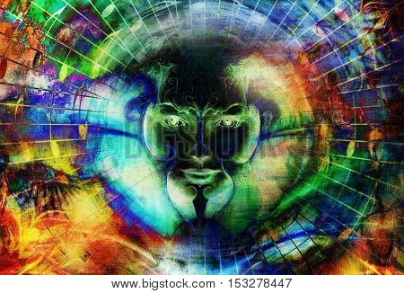 beautiful face of mystical being with music notes, symbol of the muse of music