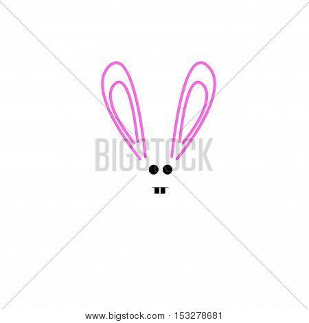 Rabbit on white background. Cute rabbit cartoon