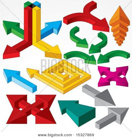 Vector Arrows Set - collection of isometric arrow sign and design elements
