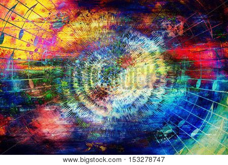 detail of solar mandala amids music notes in space symboliting music inspiration