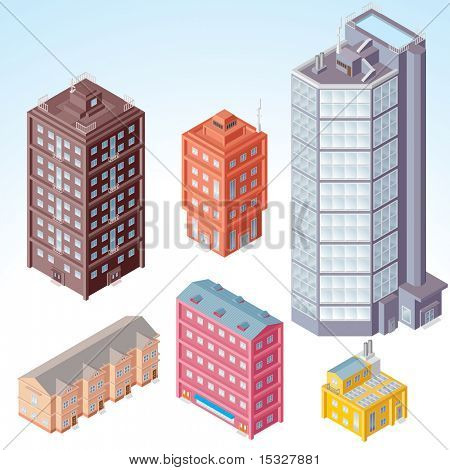 Set of isolated Modern Buildings - isometric illustration of various urban dwellings, detailed clip art