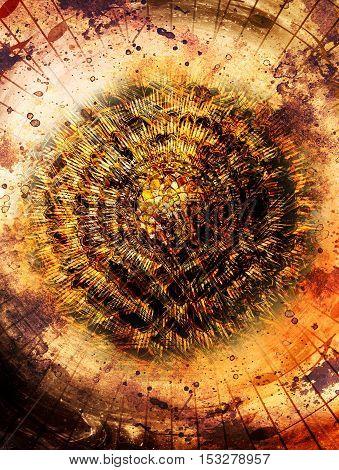 solar mandala amids music notes in space symboliting music inspiration