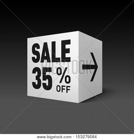 Cube Banner Template for Holiday Sale Event. Thirty-five Percent off Discount