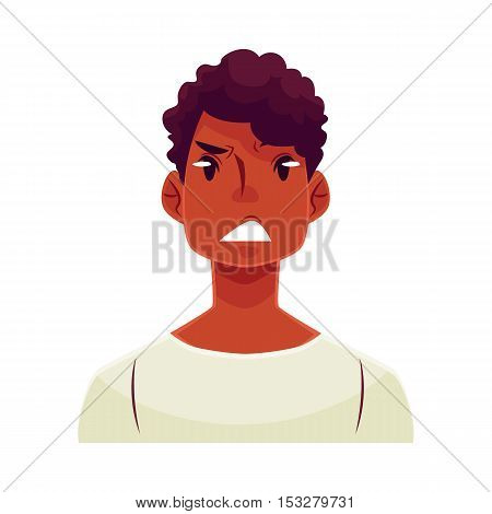 Young african man face, upset, confused facial expression, cartoon vector illustrations isolated on white background. Handsome boy feeling upset, concerned, confused frustrated.