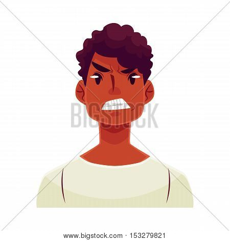 Young african man face, angry facial expression, cartoon vector illustrations isolated on white background. Handsome boy frowns, feeling distresses, frustrated, sullen, upset. Angry face expression