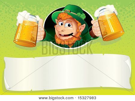 Cute Irish Leprechaun with mugs of green ale - St Patrick s Day festive vector illustrated background or placard with blank banner for your text and greetings