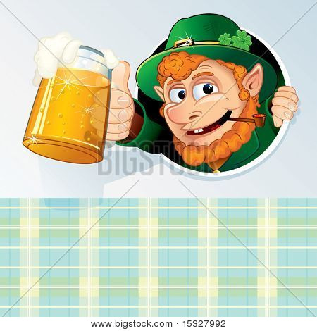 Happy St Patrick's Day Background -  Congratulation Card with Funny Cartoon Leprechaun and space for your text