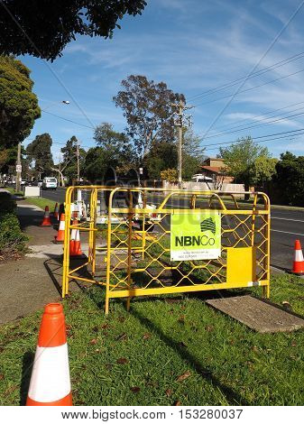 Melbourne Australia - October20 2016: NBN Hybrid Coaxial Fiber cable installation with a cable drum in the suburb of Glen Waverley part of the National Broadband Network HCF augmentation.