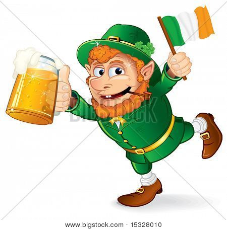 St Patricks Tag traditionelle Feier Symbol - bunten Cartoon Illustration ein glückliches Lächeln L