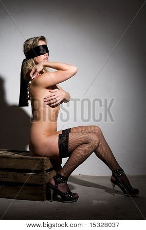 Beautiful Sey Nude Girl Bound In Dungeon Style