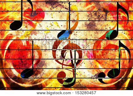 abstract set of music clefs and lines with notes, music theme graphic collage. Fire effect