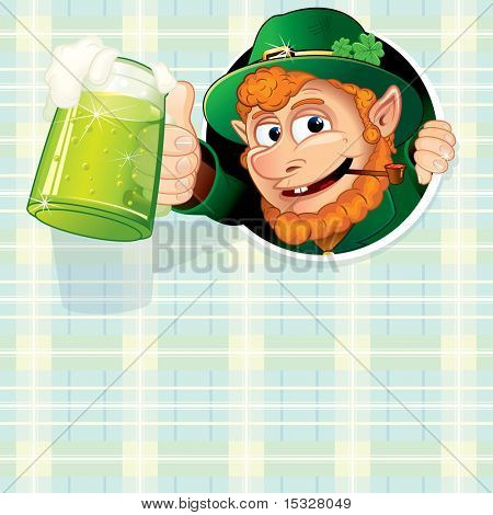 Cartoon Leprechaun with mug of green ale, illustrated vector background ready for your text and design